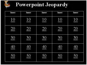 jeopardy template with sound effects how can i make a jeopardy template in powerpoint