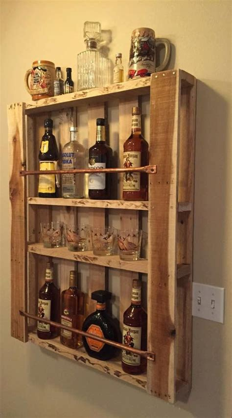 liquor bottle display cabinet rustic pallet furniture wood wall shelf liquor cabinet