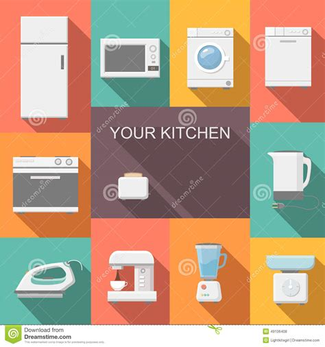 Toaster Oven Cleaner Set Of Kitchen Appliances Flat Vector Icons Stock Vector