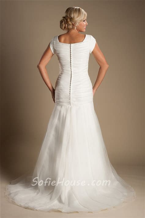 modest mermaid wedding dresses modest trumpet mermaid ruched organza wedding dress with