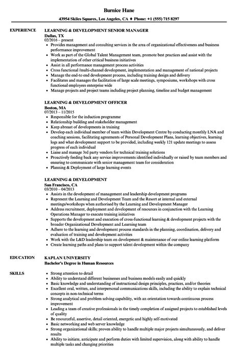 learning and development manager resume exles learning development resume sles velvet