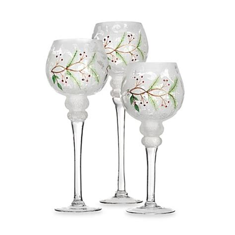 holiday manor frosted glass hurricane candle holders set