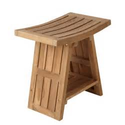 teak asian style shower stool bathroom