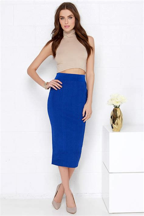 bodycon midi skirt royal blue skirt 43 00