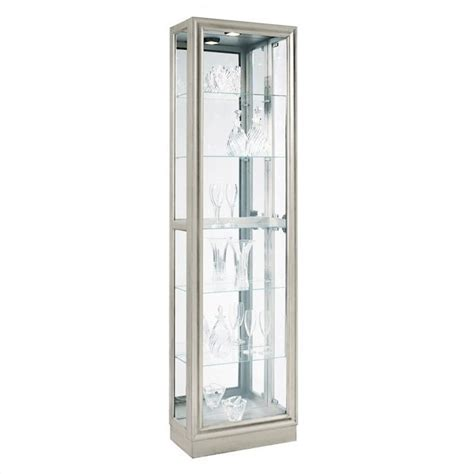modern curio cabinet pulaski curio modern display cabinet in platinum 21455