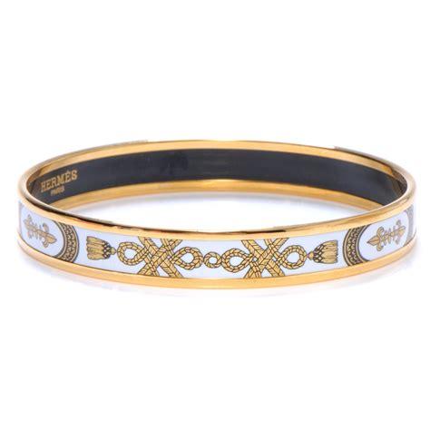 hermes enamel narrow printed tassel bracelet 70 white 49657