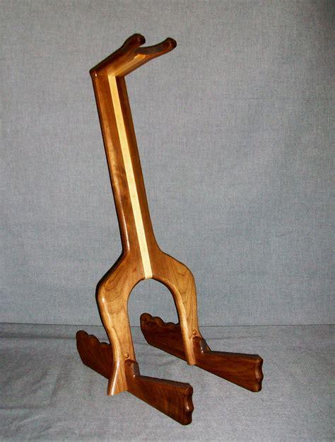 Handmade Guitar Stand - custom guitar stand black walnut and oak premium