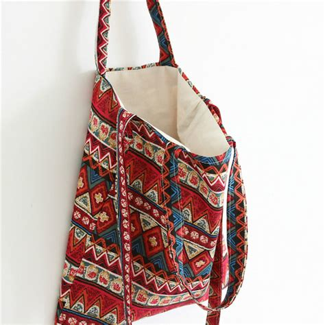 Handmade Cloth Bags - national handmade handbag printed vintage gear cotton