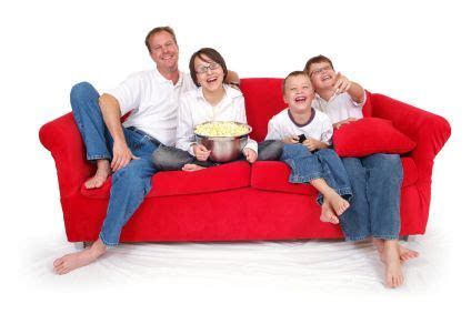 Kaos Family Uk 4 10 family on sofa with popcorn carpet cleaning upholstery cleaning in essex