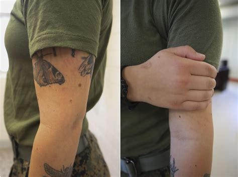 marine tattoo policy right to bare arms marine corps new policy gt ii