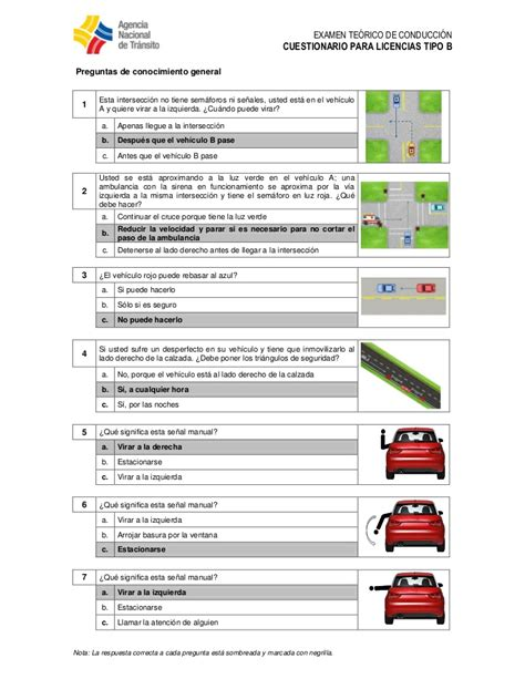 preguntas del si o no ecuador cuestionario licencia tipo b ecuador 250 ltima 2015 2016