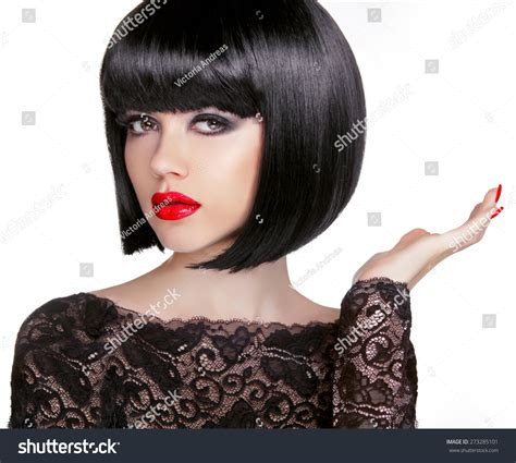 Bob Hairstyle Brunette Fashion Model Black Stock Photo