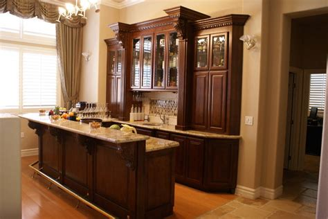 custom built in bar after traditional family room