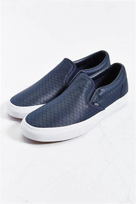 vans classic slip on sneaker vans classic leather slip on sneaker in blue for lyst