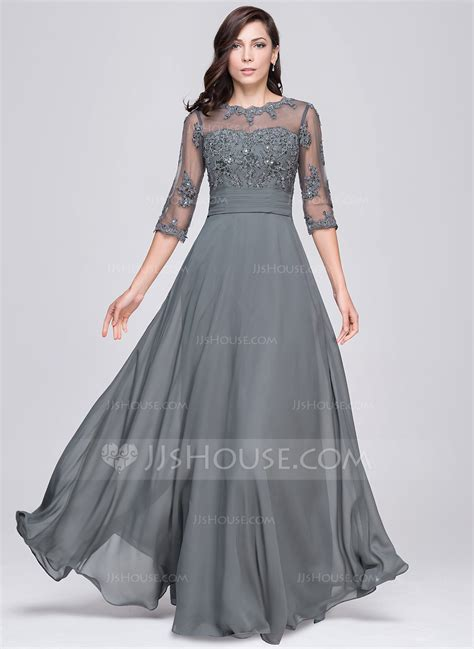 Formal Gowns by A Line Princess Scoop Neck Floor Length Chiffon Evening
