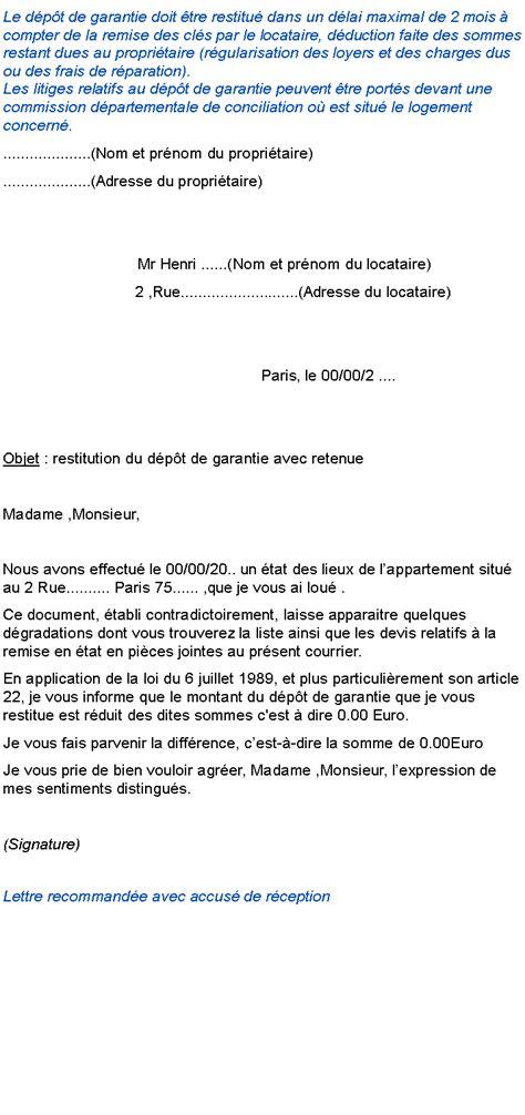 Exemple Lettre De Garantie Des Travaux modele lettre restitution retenue de garantie contrat de