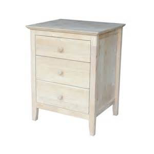 Unfinished Furniture Nightstand Unfinished Nightstand With 3 Drawers By International Concepts