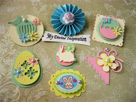 Pretty Scrapbooking Embellishments For Easter by Easter Bunny And Eggs Paper Embellishments And