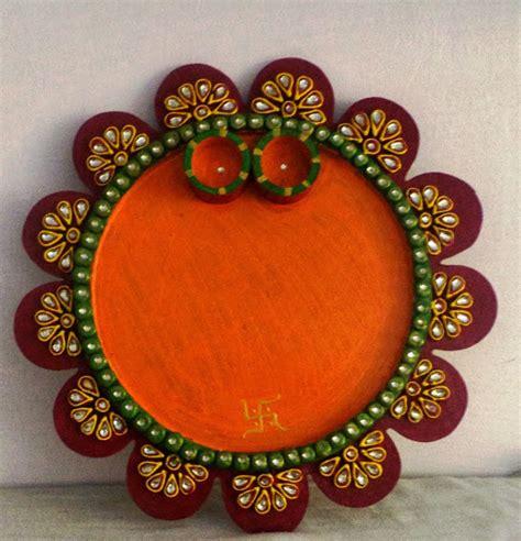 decorative diya and thali set art n crafts beautifully handmade puja thali wooden pooja