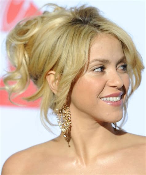 blonde bob updo shakira updo long straight formal updo hairstyle with