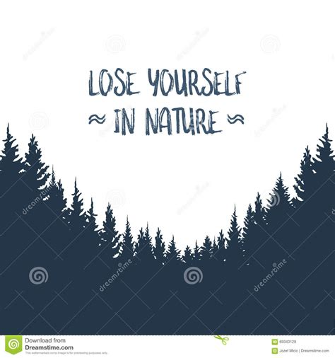 typography nature forest landscape vector background woods silhouette with typography retro message
