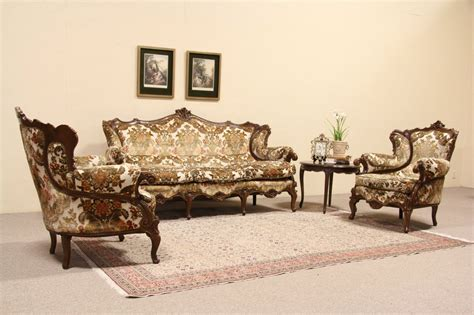antique sofa set vintage sofa set sold three piece set pair of baroque