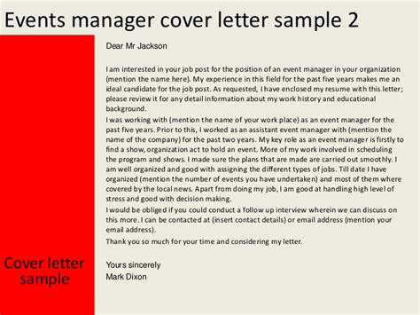 Event Management Letter Sle Events Manager Cover Letter