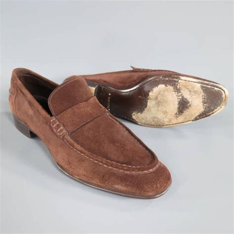 low v loafers tom ford size 10 brown suede low heel loafers at 1stdibs