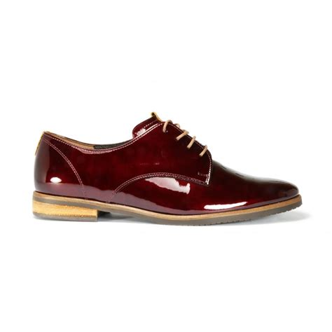 gabor flat shoes gabor gondola wine patent leather lace up flat shoe