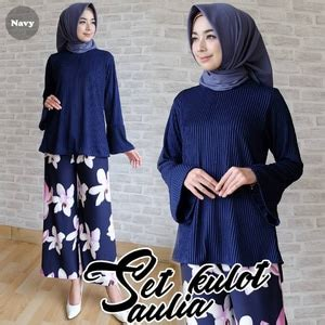 Baju Wanita Muslim Setelan Atasan Celana Pastel Set baju muslim wanita setelan celana kulot motif bunga model terbaru