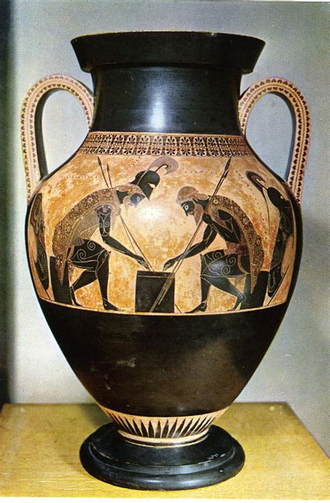 Achilles And Penthesilea Vase by Archaic Vase Painting