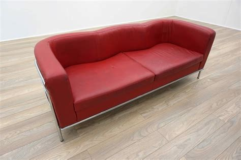 red curved sofa red leather chrome framed curved office reception club