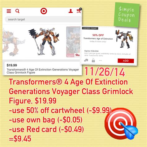 figure xpress coupon transformers age of extinction figure 9 45 target 50