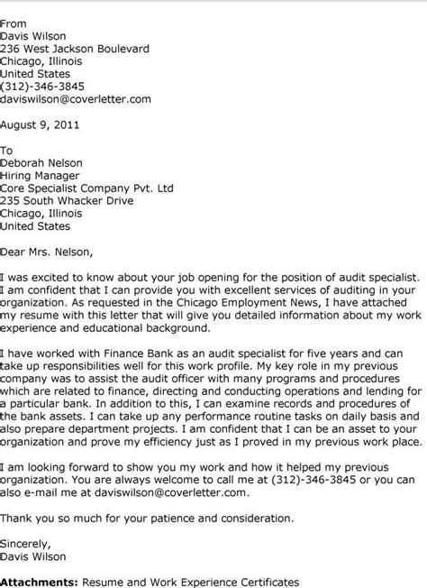 Audit Associate Cover Letter by Audit Cover Letter Sles