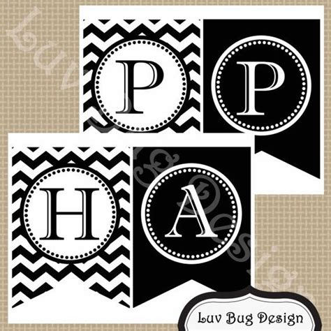 free printable happy birthday banner black and white printable black and white chevron happy birthday party