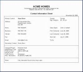 Info Template by 5 Contact Info Templates Formats Exles In Word Excel
