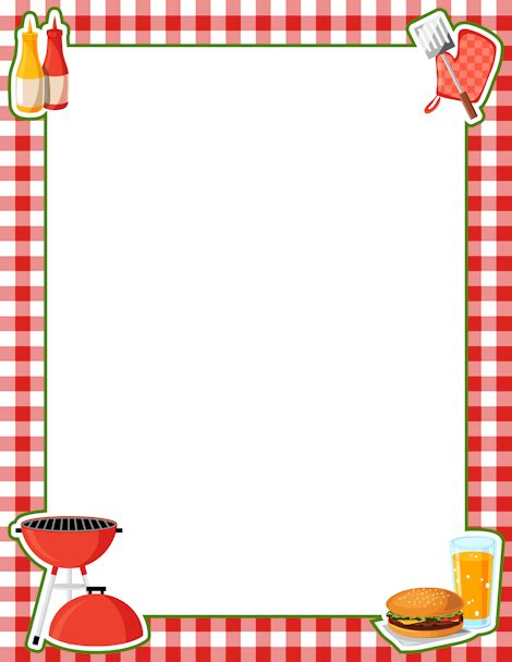 Printable BBQ border. Free GIF, JPG, PDF, and PNG ... Bbq Border Clip Art Free
