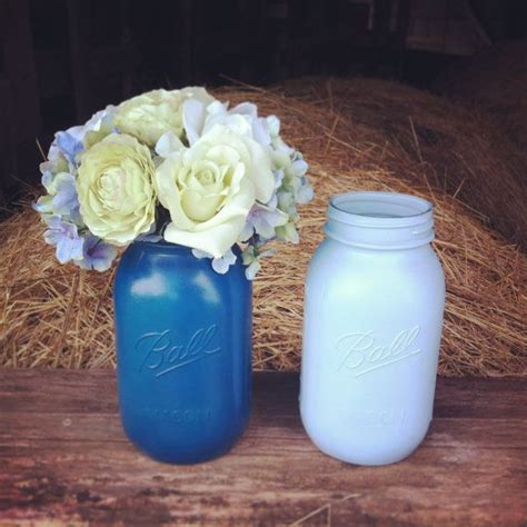 jar centerpieces for baby shower jar centerpiece light blue blue wedding jar wedding centerpiece painted
