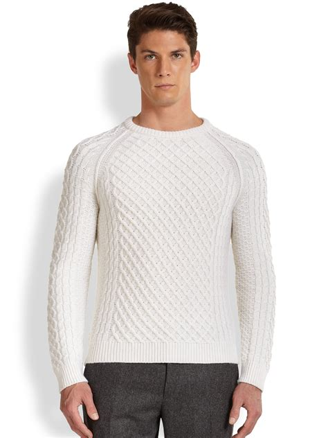 white knit sweater mens vince wool cableknit sweater in white for lyst