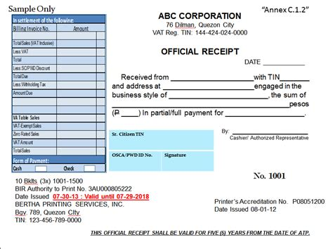 official receipt sample format fiveoutsiders com