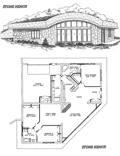 earth shelter underground floor plans stone henge home design close off the family room to make