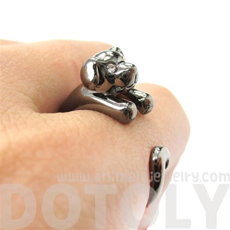 puppy ring miniature puppy animal wrap ring in gunmetal silver sizes 5 to 9 183 dotoly