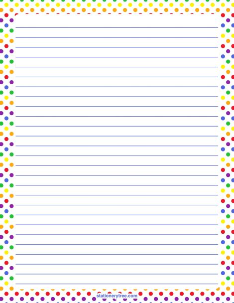 printable stationery without lines printable rainbow polka dot stationery and writing paper