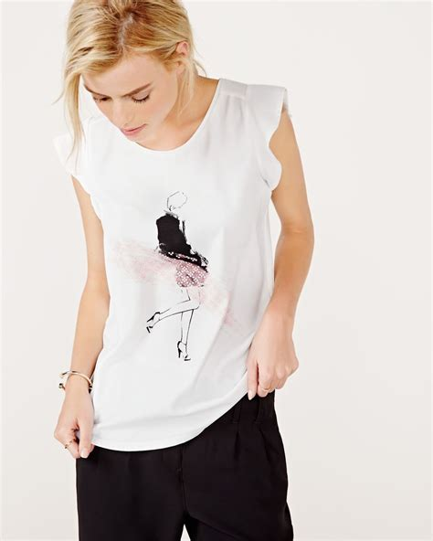 Lace Sleeve Print T Shirt flutter sleeve t shirt with lace print rw co