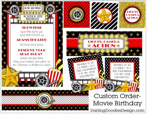 printable movie party decorations party packages darling doodles 8th grade formal