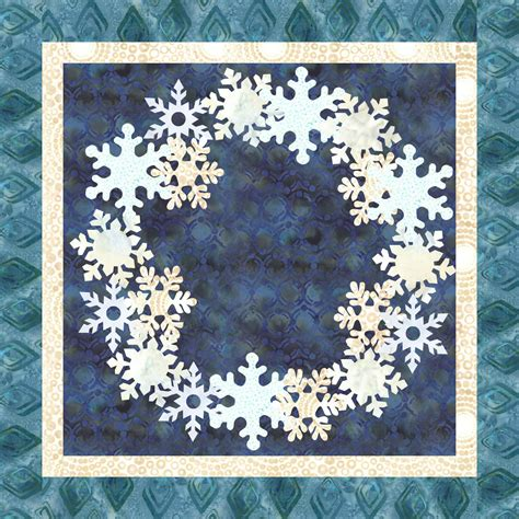 Snowflake Quilting Design by Snowflake Wreath Downloadable Quilt Pattern