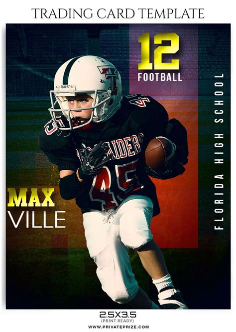 football player card template max ville sports trading card template