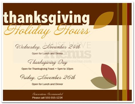 Thanksgiving Business Hours Template Holiday Hours Sign Printable Lifehacked1st Com