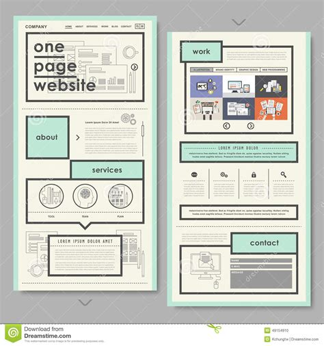 document design and layout retro document style one page website design stock vector