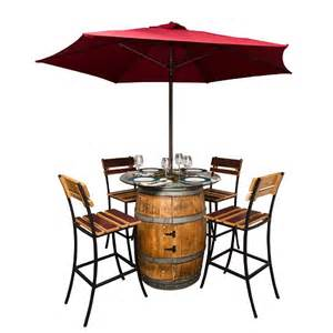 Wine Barrel Patio Table Sonoma Outdoor Wine Barrel Patio Set Wine Barrel Table Chairs And Umbrella